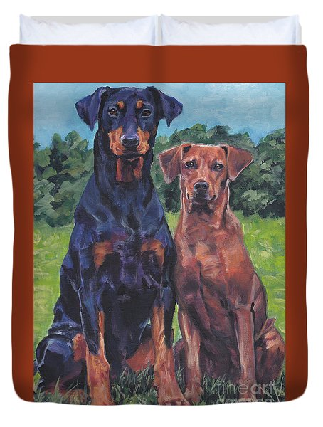 Duvet Cover featuring the painting German Pinschers by Lee Ann Shepard