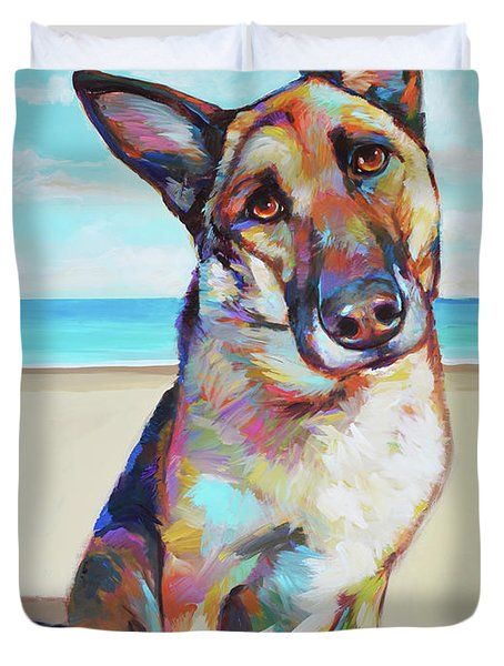 German Shepard On The Beach Duvet Cover