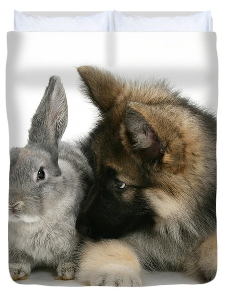 German Shepherd And Rabbit Duvet Cover by Mark Taylor