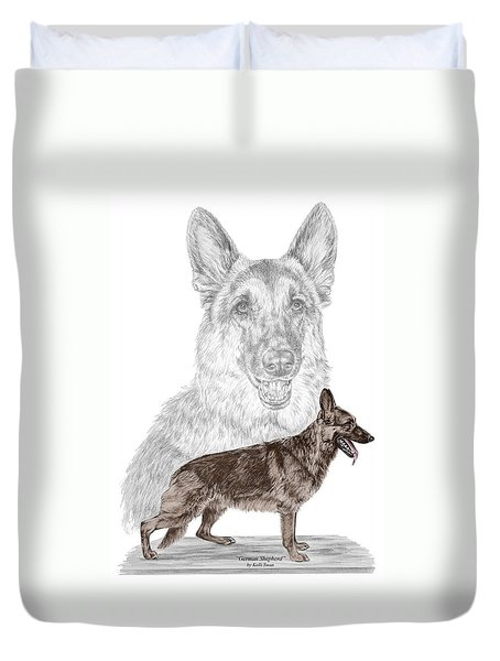 German Shepherd Art Print - Color Tinted Duvet Cover