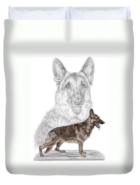 German Shepherd Art Print - Color Tinted Duvet Cover