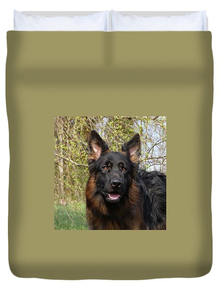 Duvet Cover featuring the photograph German Shepherd Close Up by Sandy Keeton