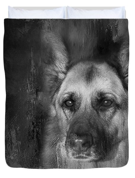 German Shepherd In Black And White Duvet Cover