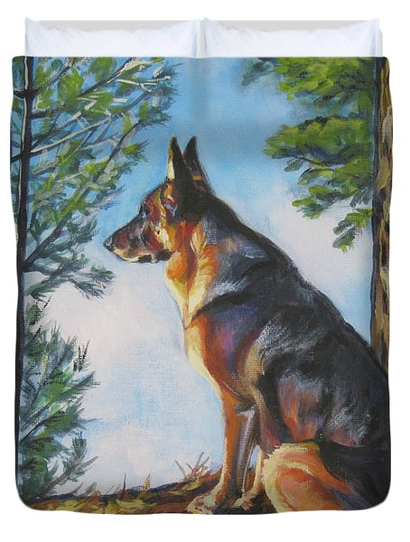 German Shepherd Lookout Duvet Cover