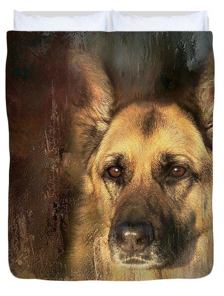 German Shepherd Portrait Color Duvet Cover