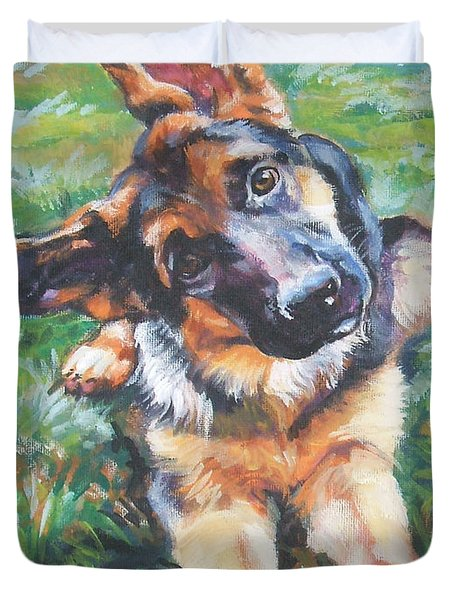 German Shepherd Pup With Ball Duvet Cover by Lee Ann Shepard