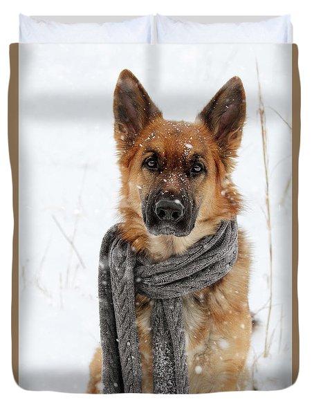 German Shepherd Wearing Scarf In Snow Duvet Cover