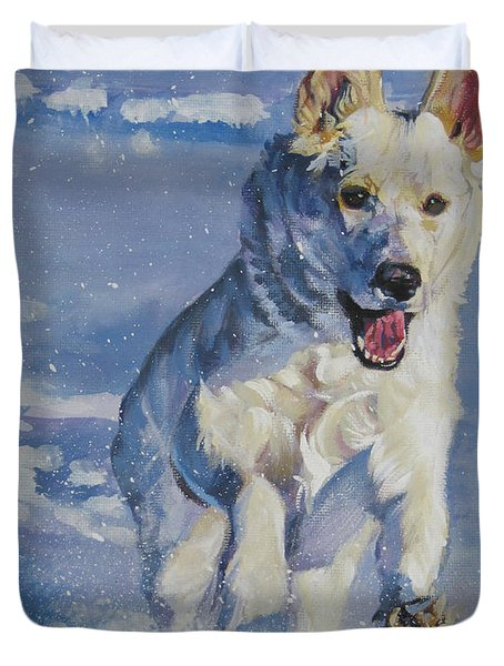 German Shepherd White In Snow Duvet Cover