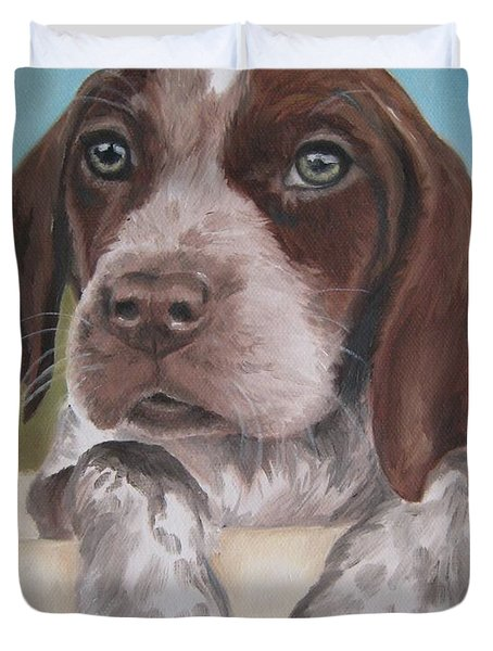 Duvet Cover featuring the painting German Shorhaired Pointer Puppy by Jindra Noewi