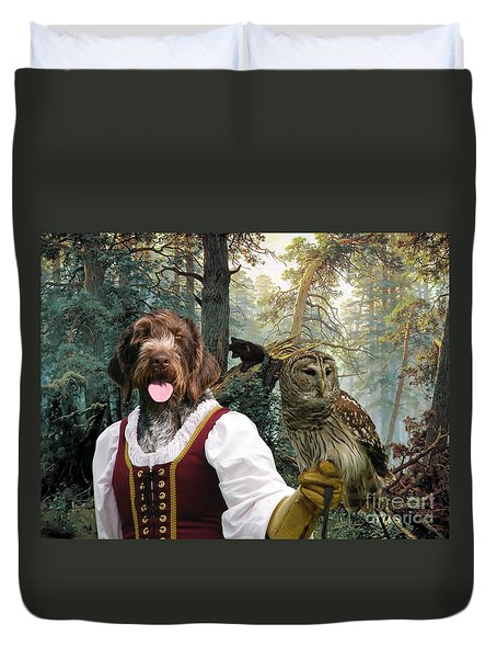 German Wirehaired Pointer Art Canvas Print - Lady Owl And Little Bears Duvet Cover