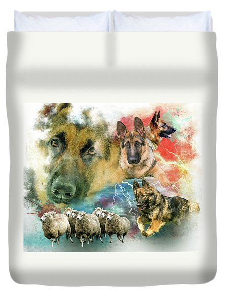 German Shepherd Collage Duvet Cover