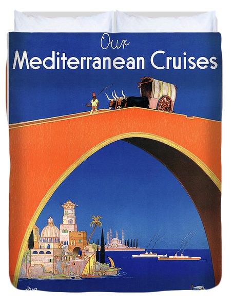 Germany Hamburg Vintage Travel Poster Restored Duvet Cover by Carsten Reisinger
