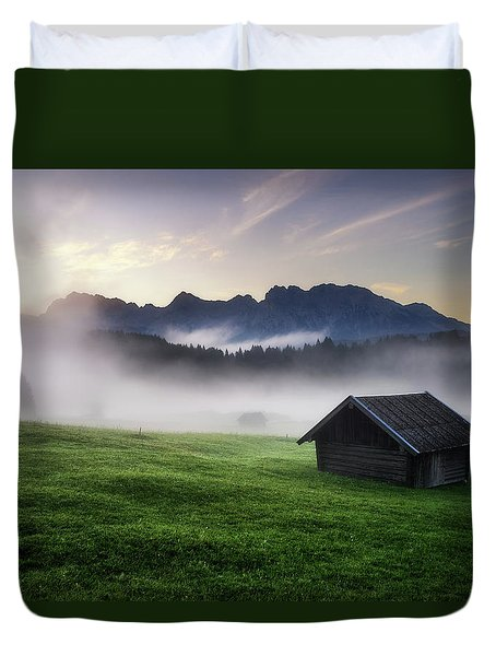 Geroldsee Forest With Beautiful Foggy Sunrise Over Mountain Peaks, Bavarian Alps, Bavaria, Germany. Duvet Cover