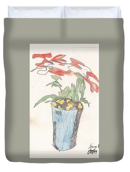 Duvet Cover featuring the drawing Gesture Drawing Of Poinsettia by Rod Ismay