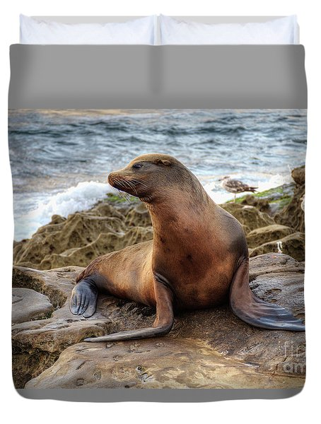Get My Good Side Duvet Cover by Eddie Yerkish