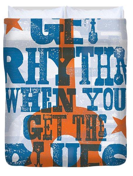 Get Rhythm - Johnny Cash Lyric Poster Duvet Cover