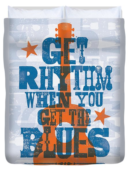 Get Rhythm - Johnny Cash Lyric Poster Duvet Cover
