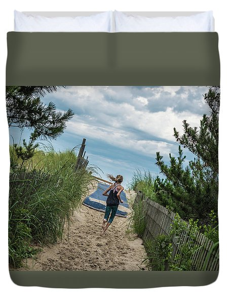 Duvet Cover featuring the photograph Get To The Beach by T Brian Jones