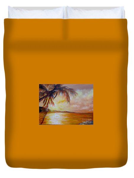 Duvet Cover featuring the painting Getaway by Saundra Johnson