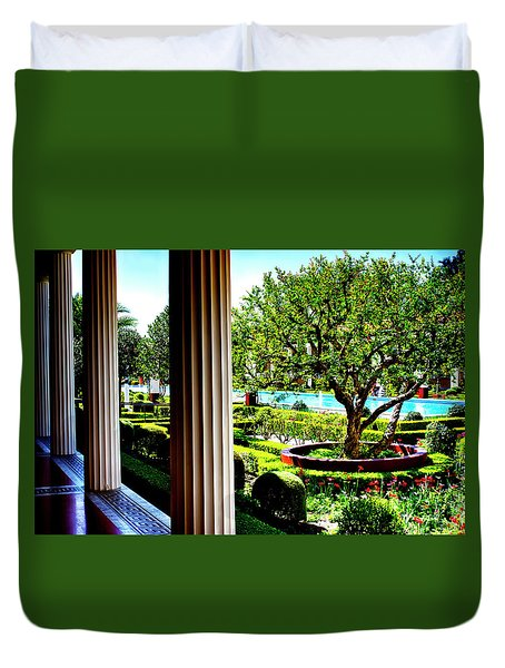 Duvet Cover featuring the photograph Getty Villa Peristyle Garden by Joseph Hollingsworth