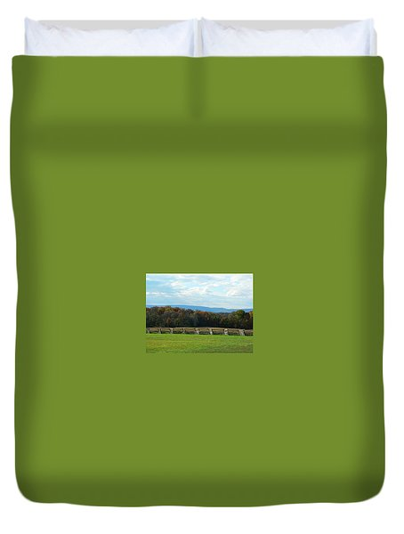 Duvet Cover featuring the photograph Gettysburg Battlefield And Beyond by Emmy Marie Vickers