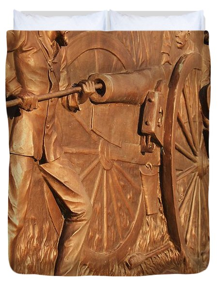 Gettysburg Bronze Relief Duvet Cover by Eric  Schiabor