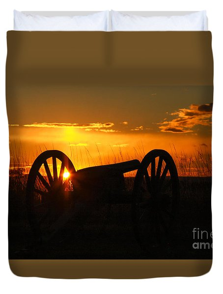 Gettysburg Cannon Sunset Duvet Cover by Randy Steele