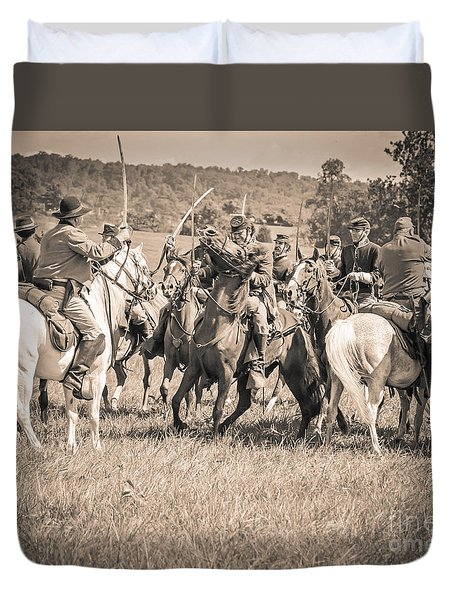 Gettysburg Cavalry Battle 7970s  Duvet Cover