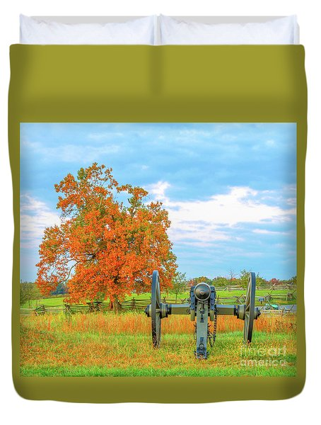 Duvet Cover featuring the digital art Gettysburg Where They Stood by Randy Steele