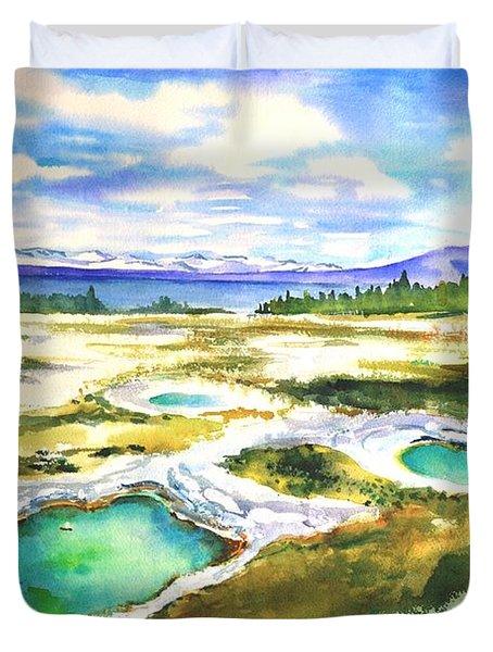 Geyser Basin, Yellowstone Duvet Cover
