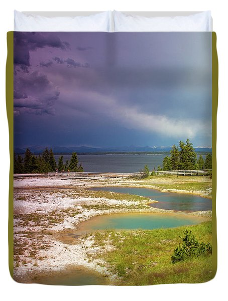 Duvet Cover featuring the photograph Geysers Pools by Dawn Romine