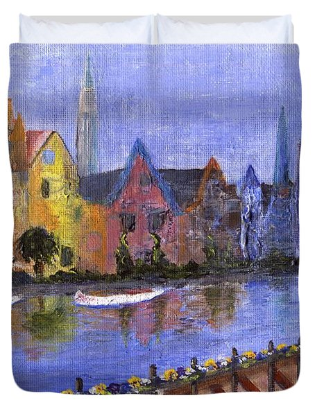Duvet Cover featuring the painting Ghent by Jamie Frier