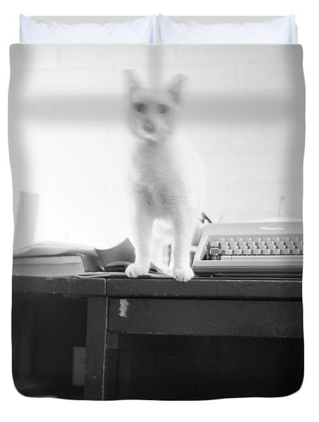 Ghost Cat, With Typewriter Duvet Cover
