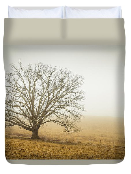 Tree In Fog - Blue Ridge Parkway Duvet Cover
