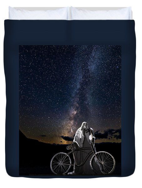 Ghost Rider Under The Milky Way. Duvet Cover