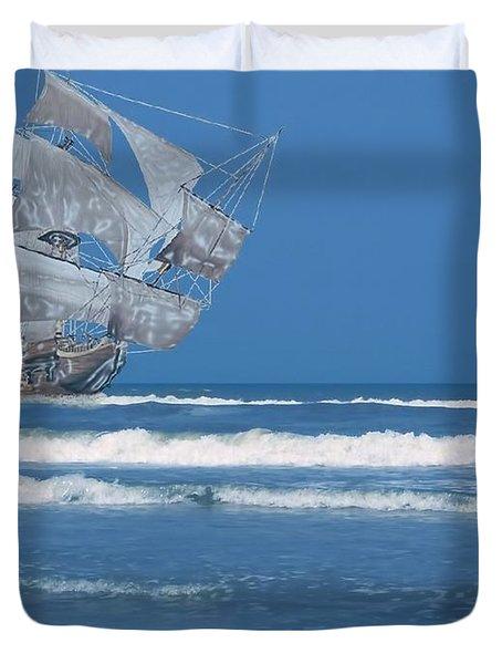 Ghost Ship On The Treasure Coast Duvet Cover