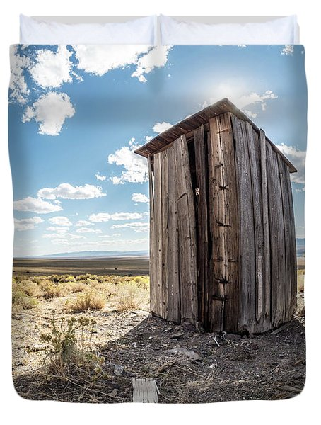 Ghost Town Outhouse Duvet Cover