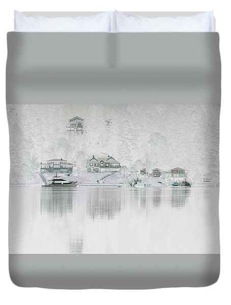 Ghostly Waterfront Duvet Cover by John Rossman