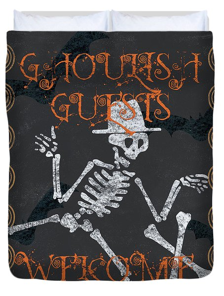 Ghoulish Guests Welcome Duvet Cover