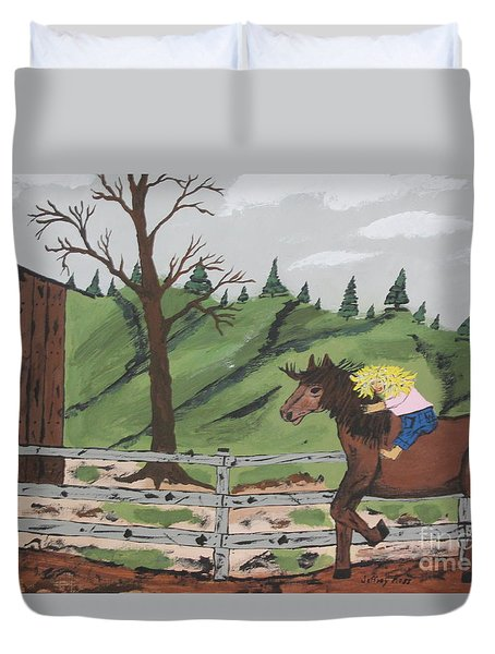 Duvet Cover featuring the painting Gianna Riding  Bareback by Jeffrey Koss