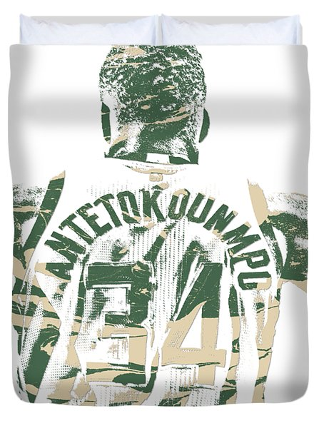 Giannis Antetokounmpo Milwaukee Bucks Pixel Art 22 Duvet Cover
