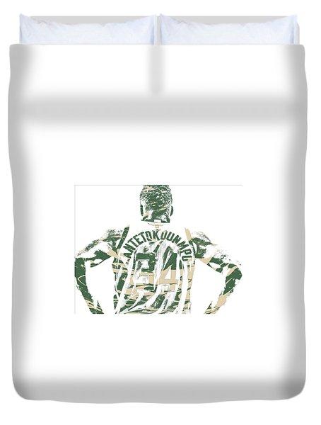 Giannis Antetokounmpo Milwaukee Bucks Pixel Art 22 Duvet Cover