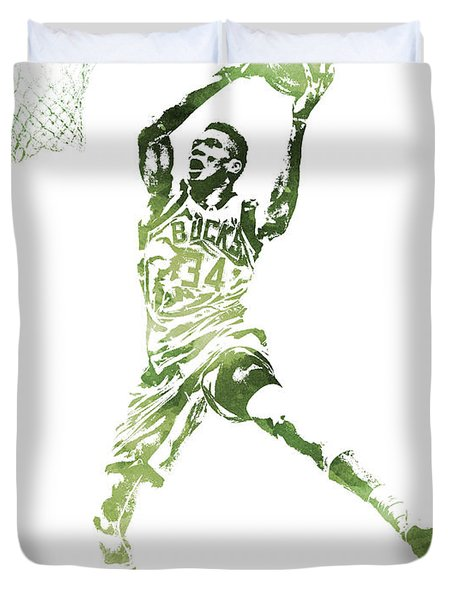 Giannis Antetokounmpo Milwaukee Bucks Water Color Pixel Art 1 Duvet Cover