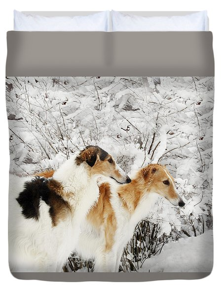 giant Borzoi hounds in winter Duvet Cover by Christian Lagereek