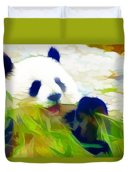 Giant Panda Bear Eating Bamboo Duvet Cover by Lanjee Chee
