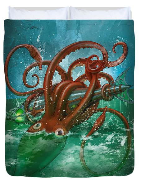 Giant Squid And Nautilus Duvet Cover