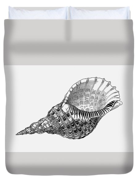 Duvet Cover featuring the drawing Giant Triton Shell by Judith Kunzle
