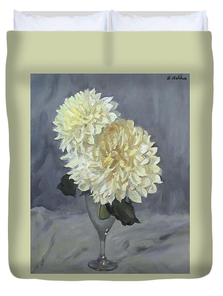 Giant White Dahlias In Wine Glass Duvet Cover