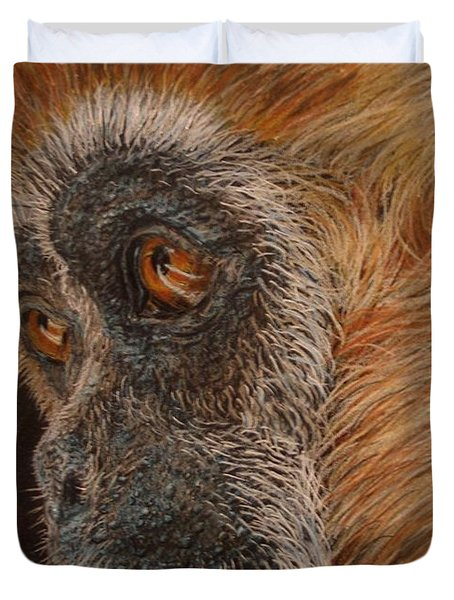 Duvet Cover featuring the drawing Gibbon by Karen Ilari
