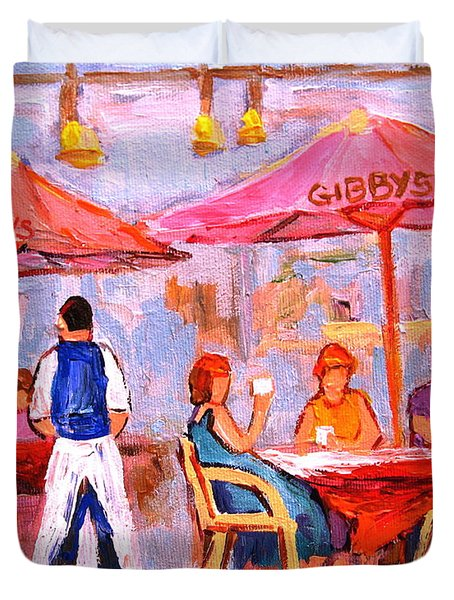 Duvet Cover featuring the painting Gibbys Cafe by Carole Spandau